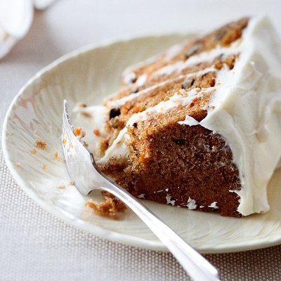 Carrot cake with fluffy white-chocolate icing