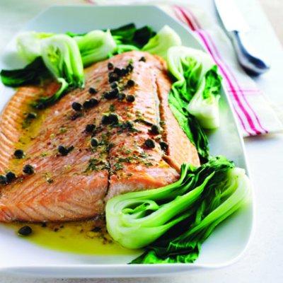Salmon with lemon-tarragon vinaigrette