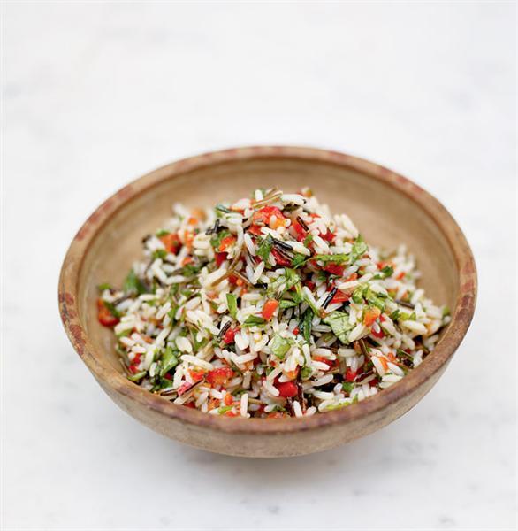 Jamie Oliver rice salad: bowl of colourful rice salad
