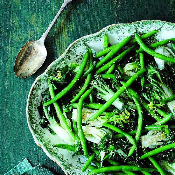Sesame green beans and bok choy