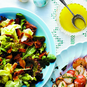 Green salad with bacon and dates. Photo, John Cullen.
