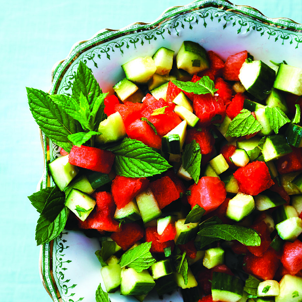 Watermelon and cucumber-mint salad