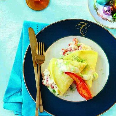 Creamy lobster crepes