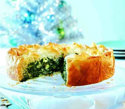 Spinach and feta phyllo tart