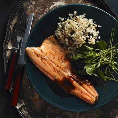 Roasted rainbow trout with prune-mushroom sauce