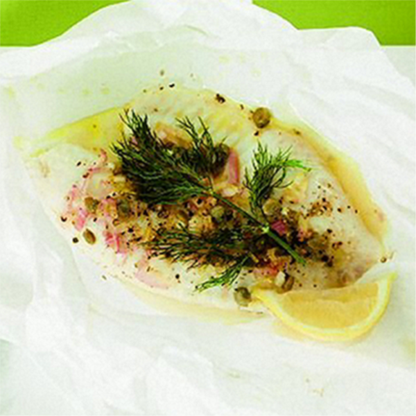 Parchment-baked gremolata fish
