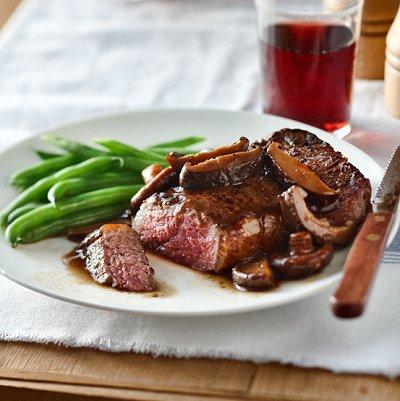 Shared steak with shiitake mushroom sauce