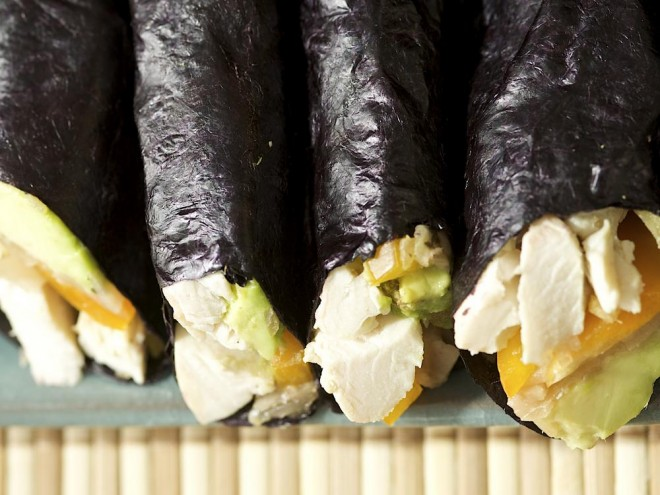 nori roll, seaweed wrap, ginger chicken