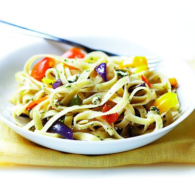 Roasted veggies and pasta with goat cheese
