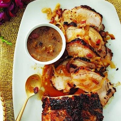 Roast pork loin with bacon-cider gravy