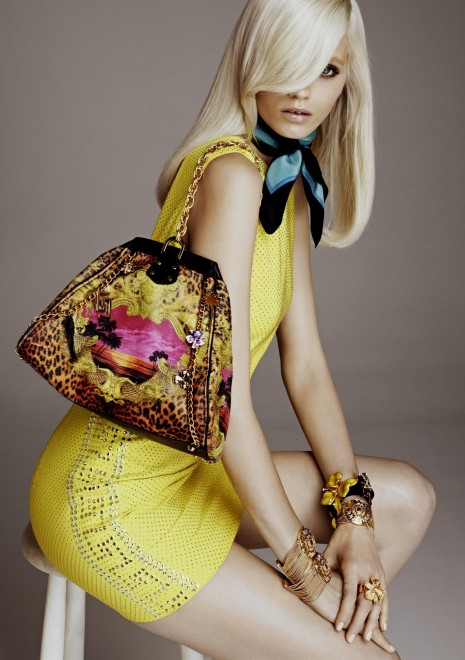 yellow dress, bag, scarf