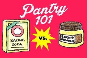 illustrated jar of baking powder and box of baking soda