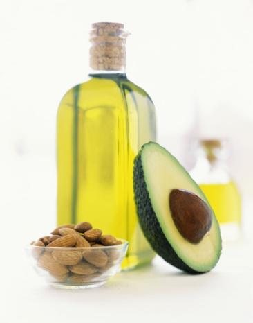 avocado, olive oil and almonds