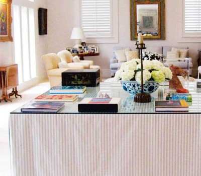 Declutter: Hide clutter under a cute table skirt