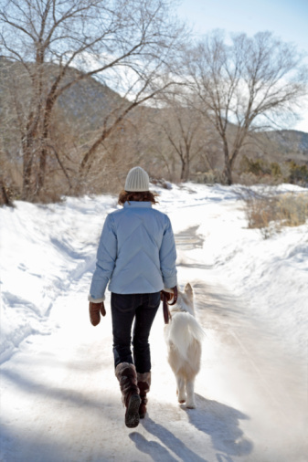 woman walking with dog winter snow outdoors