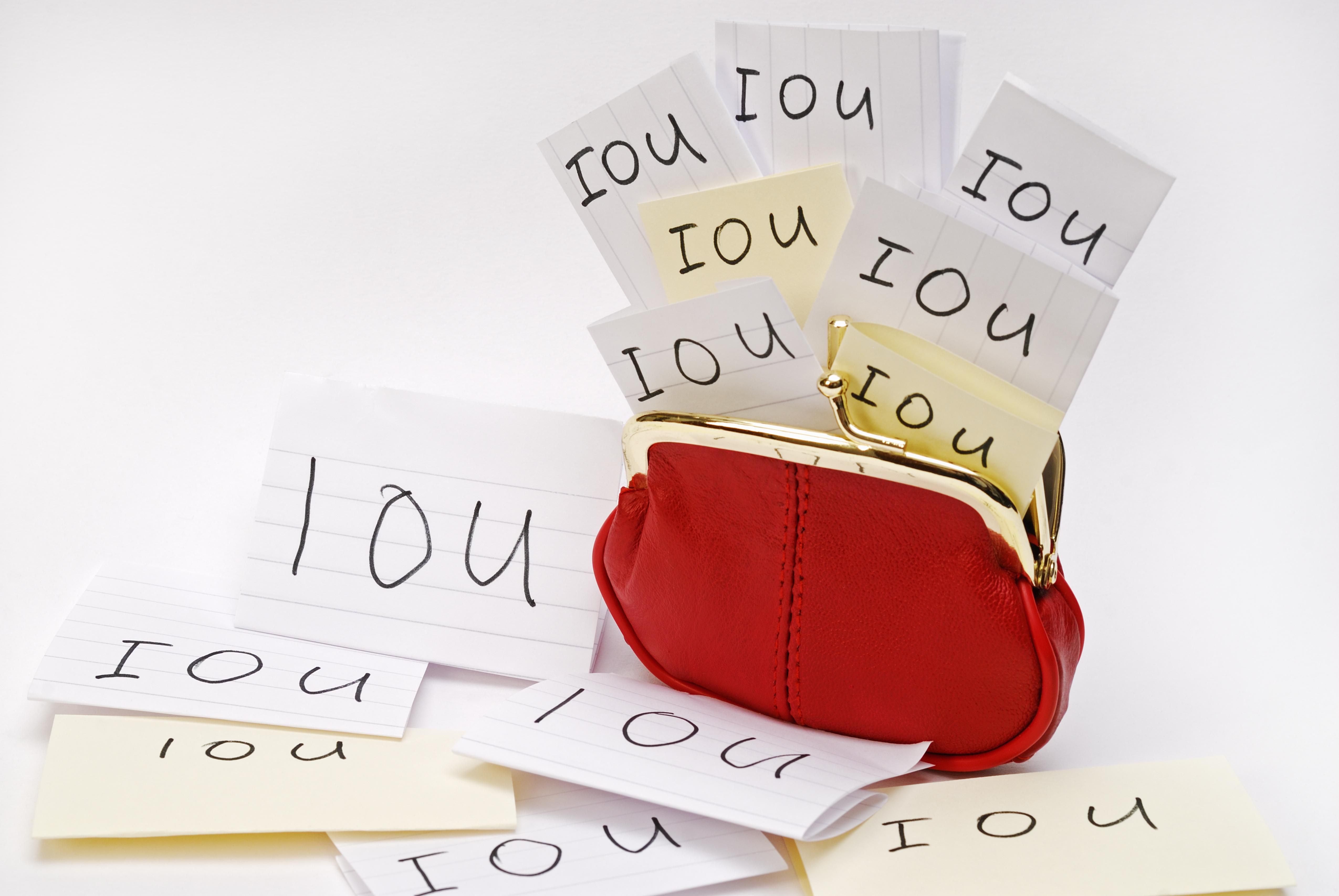 red coin purse, IOU