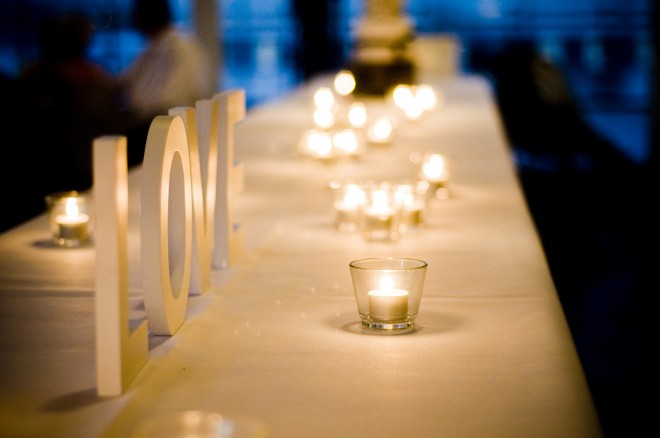 candle, wedding, reception, evening, table with white linen