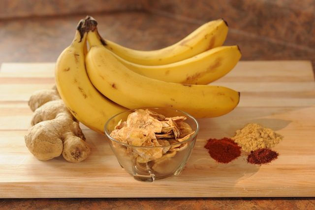 Banana Chips, bananas, ginger, spices