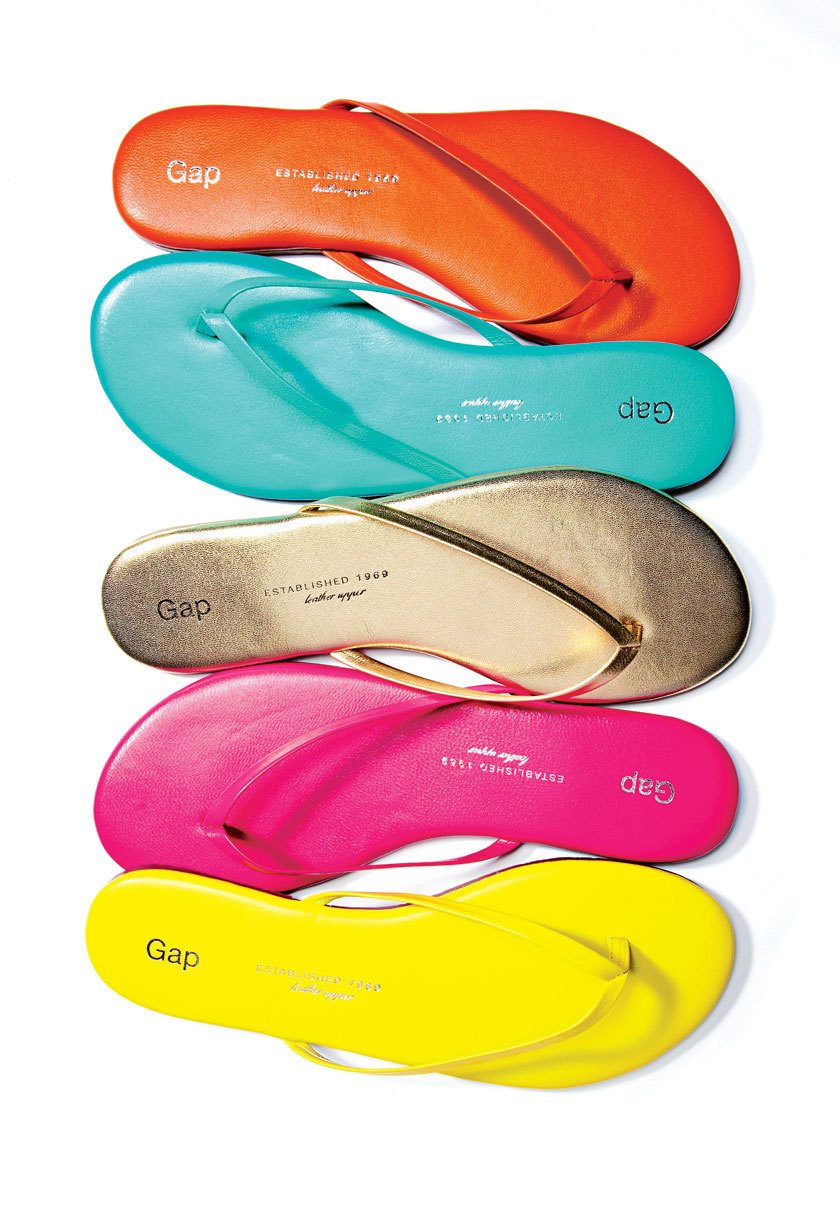 orange, turquoise, gold, pink, yellow flip-flop sandals from The Gap