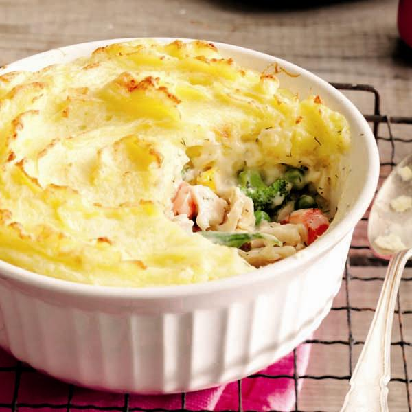 Fish pie with potato crust