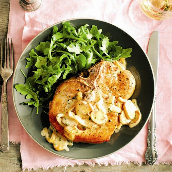 meal planning: Seared pork chops with creamy mushrooms