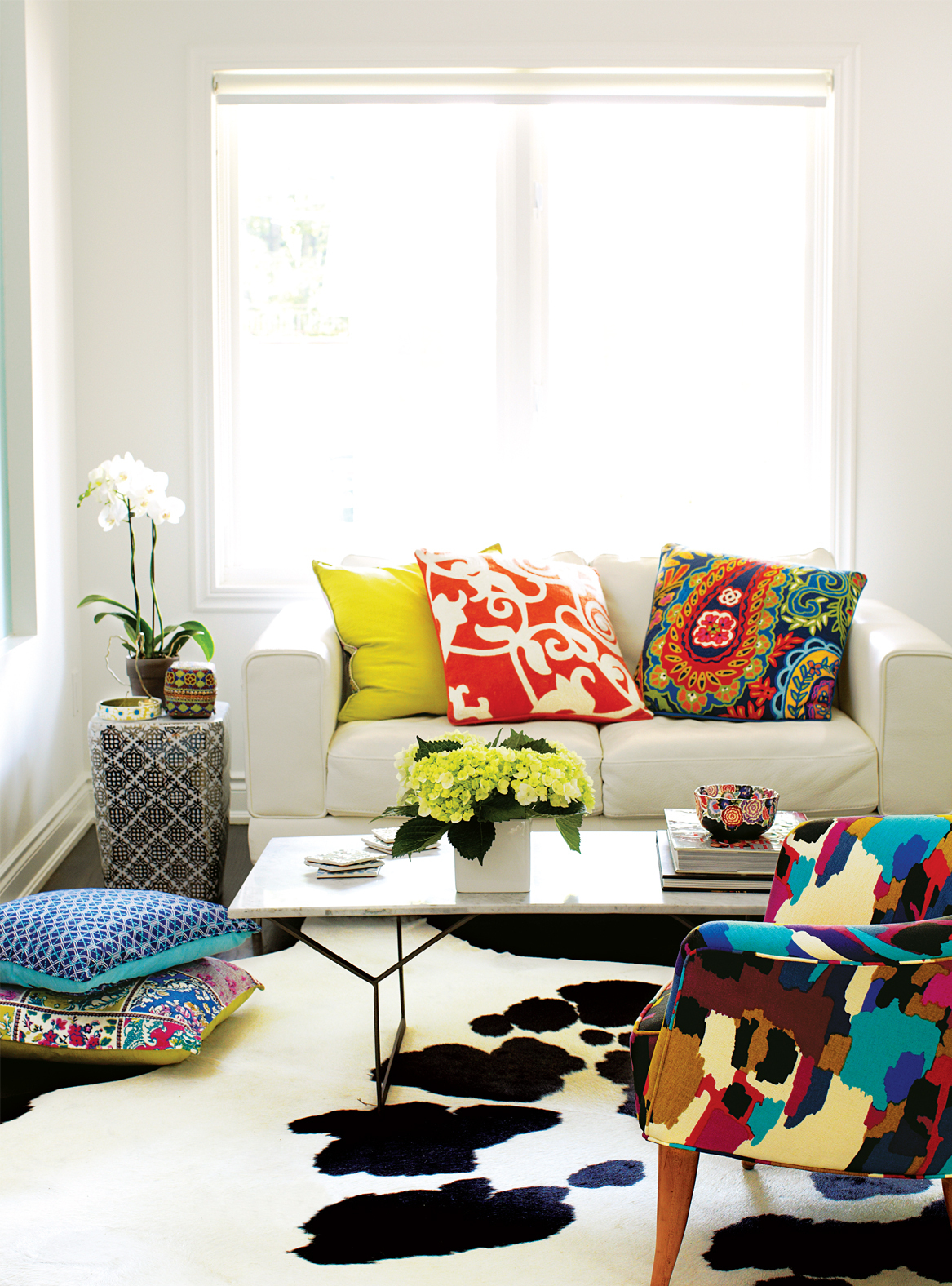 home decor, bright coloured throw cushions and patterns, Sacha Grierson cupcake company Eat My Words
