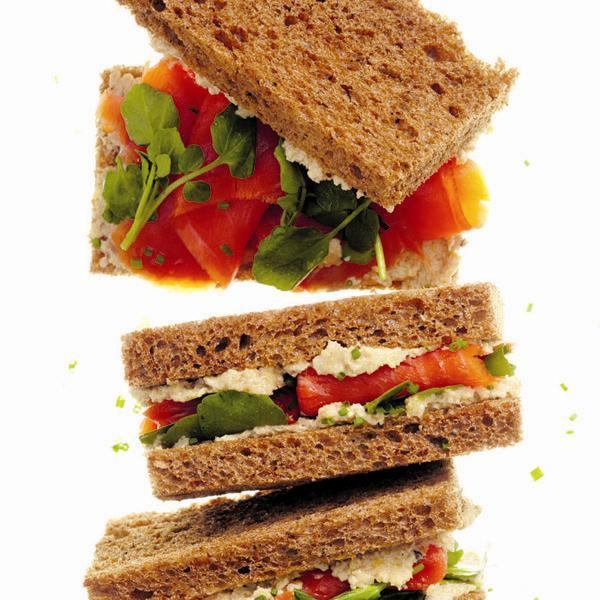 Creamy-artichoke and smoked salmon tea sandwiches