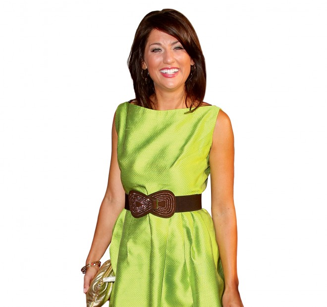 Jillian Harris in silk green dress