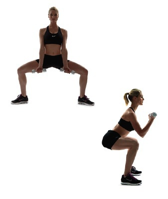 Sumo squat with bicep curls