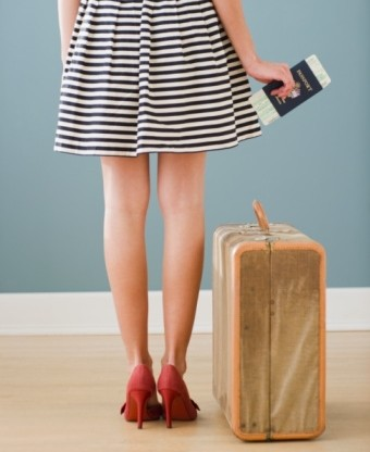 Woman with passport and suitcase
