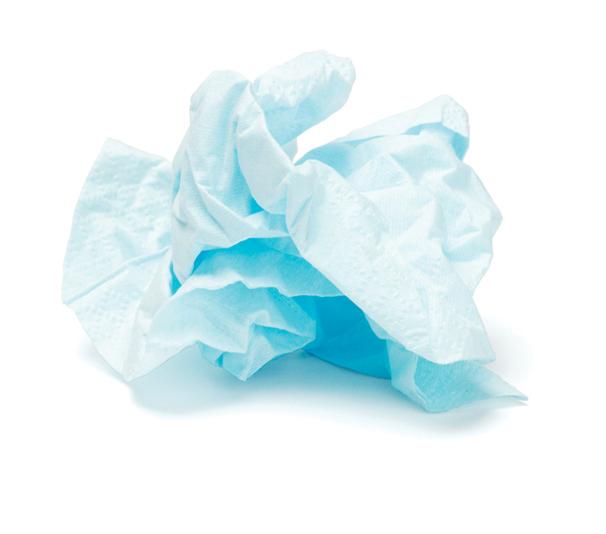 Crumpled tissue
