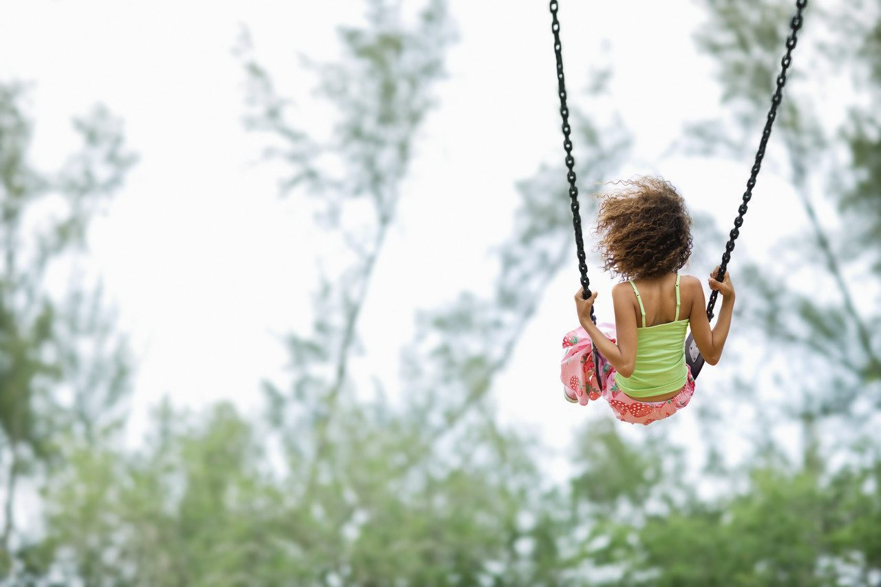 Child on a swing alone