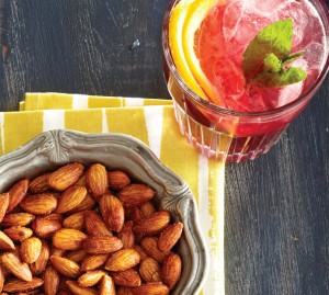 Spiced almonds and sangria spritzer cocktail recipe