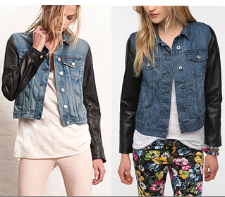 leather sleeved denim jacket