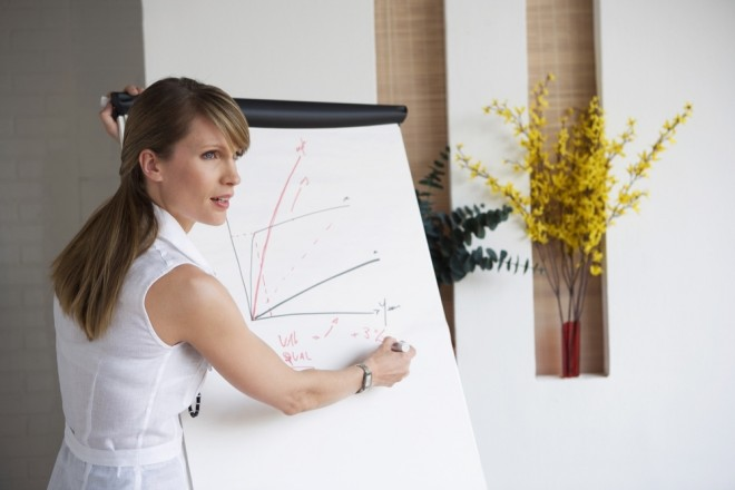 Confident woman giving presentation