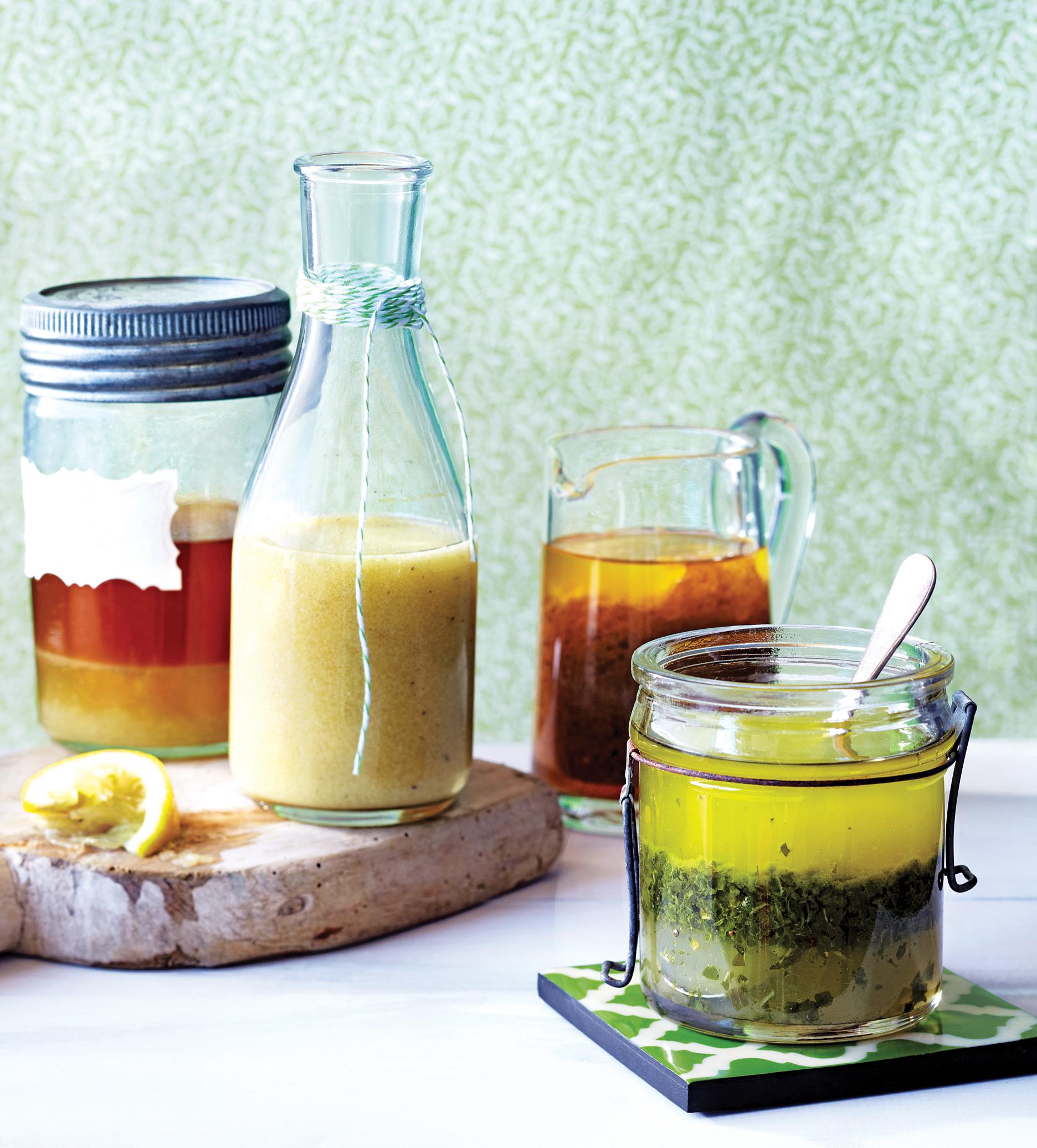 Salad dressings in glass bottles