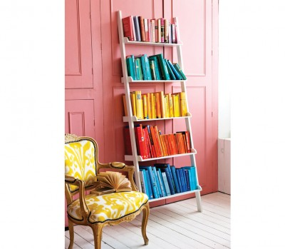 White bookshelf, Colourful books