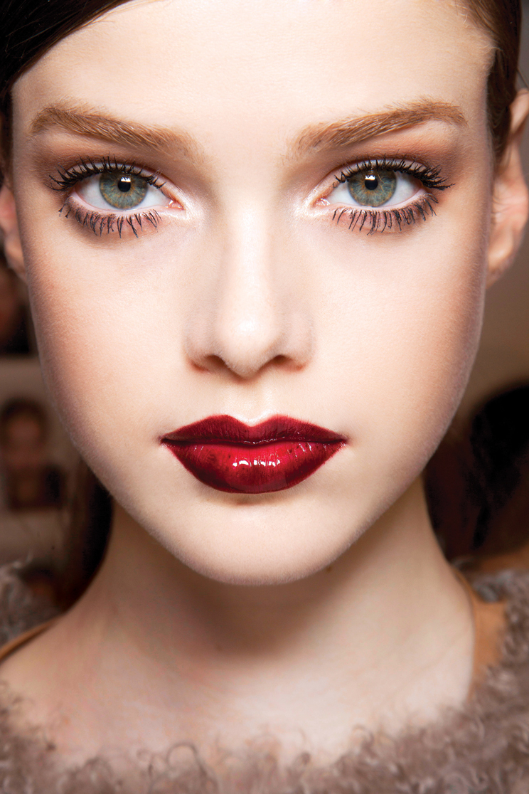 red lipstick on model, beauty show
