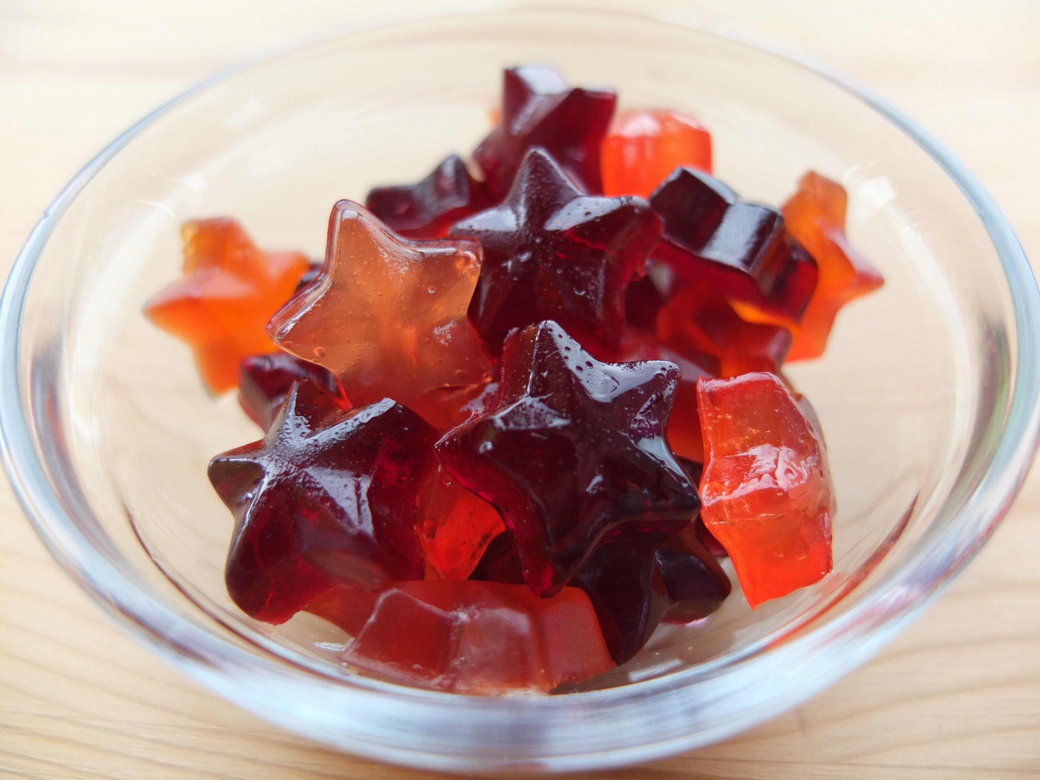 Gummy candies in a bowl.
