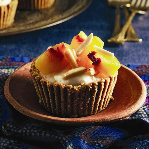 No-bake peach and almond tartlets