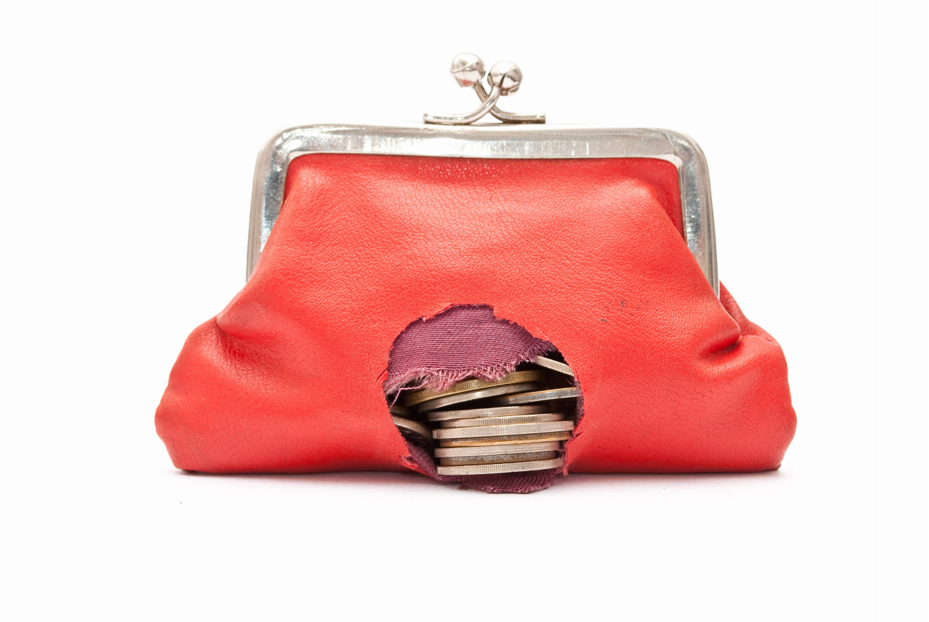 red coin purse with hole