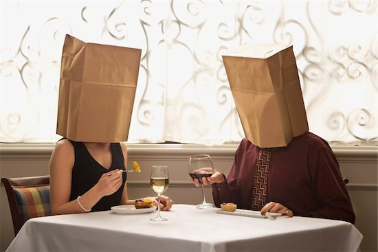 man and woman, couple on date, blind date