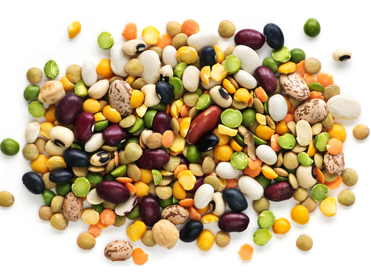 How to cook dried beans: colourful pile of dried beans