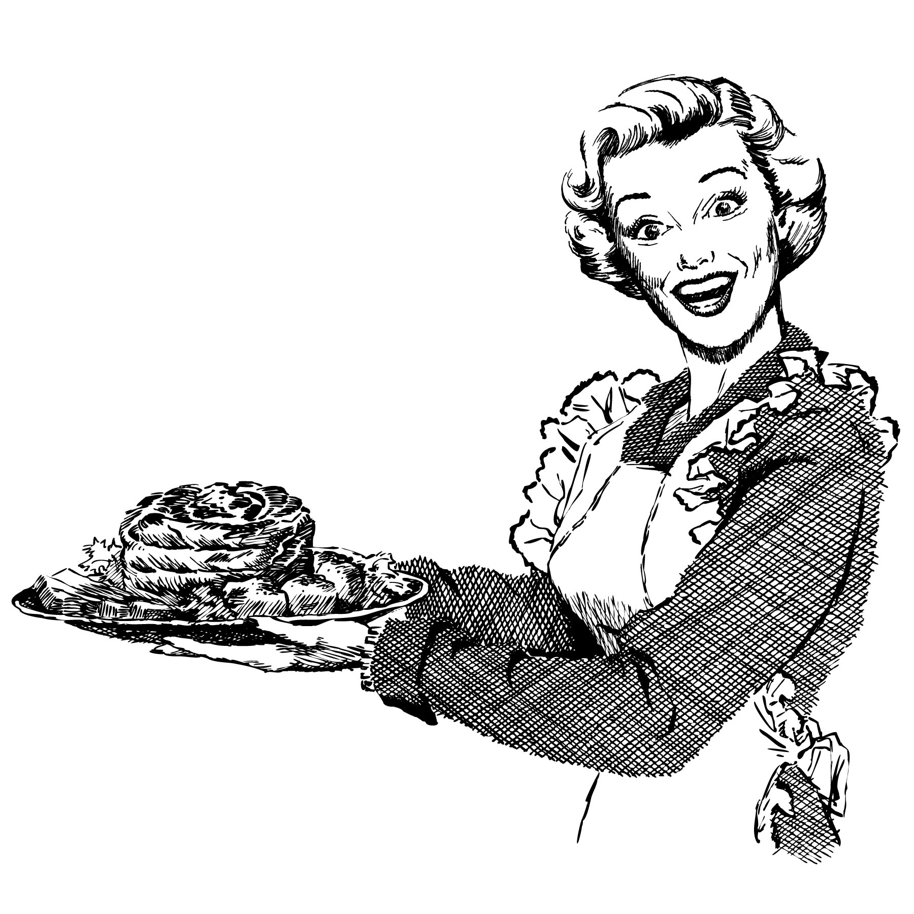 smiling woman in apron holding a tray of food