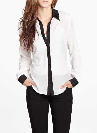 White And Black Blouse - Long Blouse With Pants