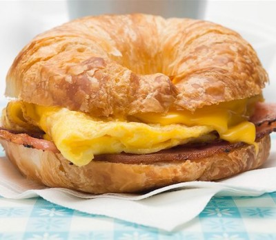 Breakfast sandwich on a croissant