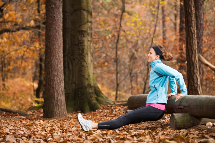 Working out in the forest in the fall/autumn