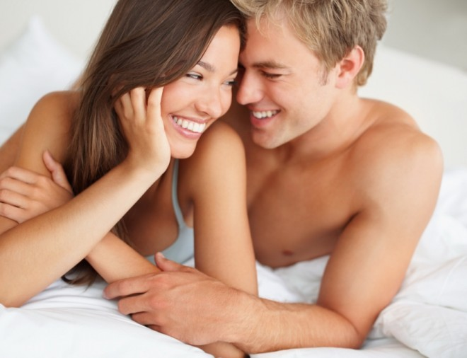 Couple in bed, sex, happy
