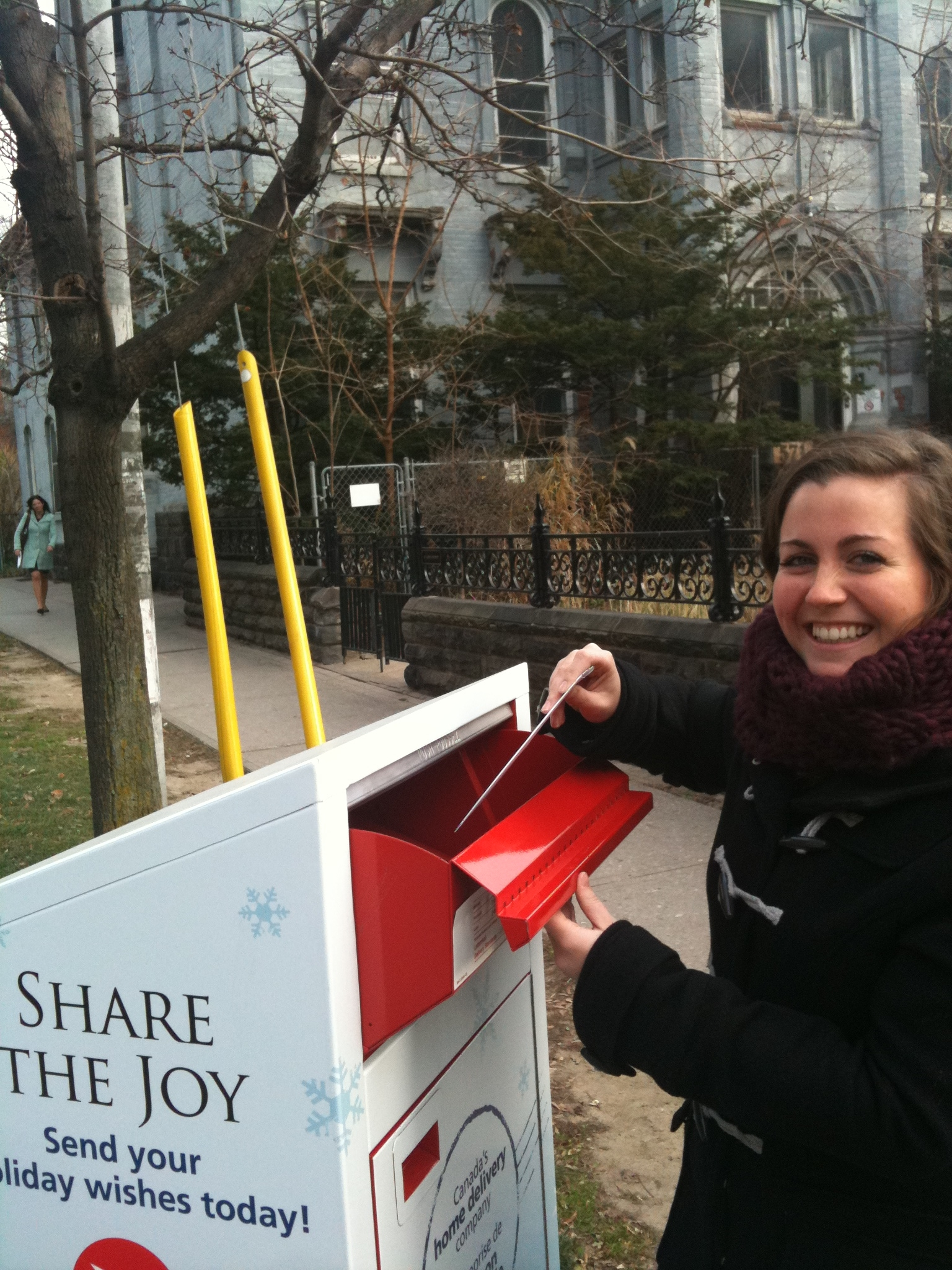 Dominique Lamberton mailing Christmas card, Editorial Assistant, KindCycle