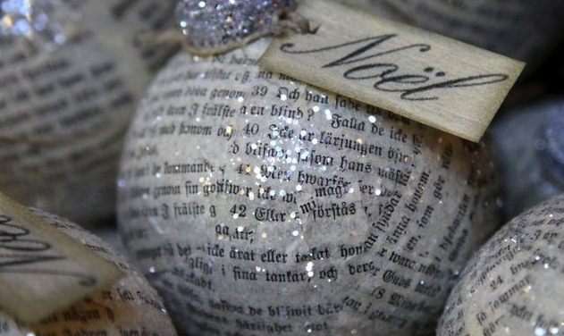 Sparkly Christmas tree ornament ball with text, newspaper, noel